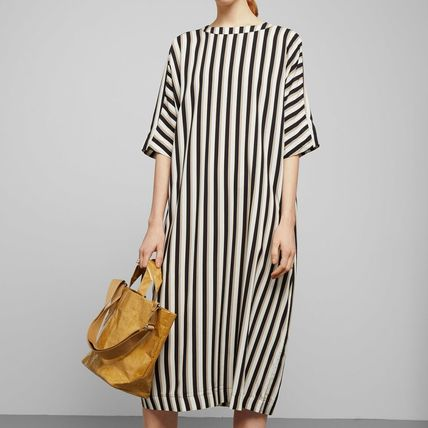Stripes Casual Style Long Short Sleeves Dresses