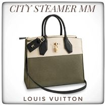 Louis Vuitton CITY STEAMER 2WAY Bi-color Leather Office Style Shoulder Bags