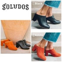 SOLUDOS Casual Style Plain Leather Chunky Heels Heeled Sandals