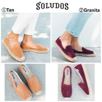 SOLUDOS Platform Casual Style Suede Plain Pointed Toe Pumps & Mules