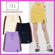 ROMANTIC CROWN Short Casual Style Street Style Plain Cotton Skirts