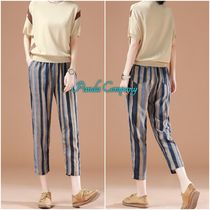 Stripes Casual Style Linen Street Style Medium