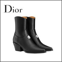 Christian Dior Star Plain Toe Casual Style Plain Leather Block Heels