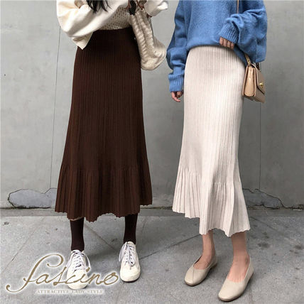 Maxi Casual Style Pleated Skirts Plain Long Maxi Skirts