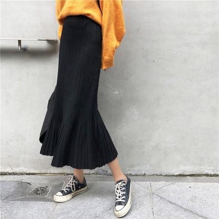 Maxi Casual Style Pleated Skirts Plain Long Maxi Skirts 2