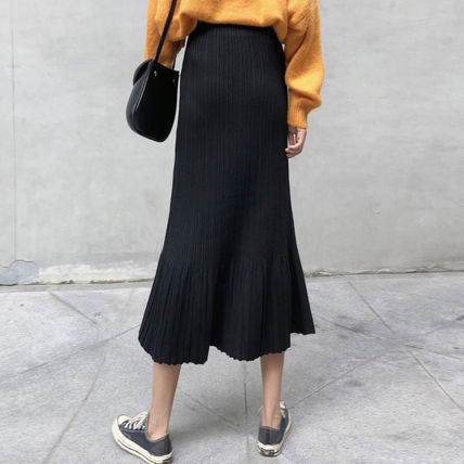 Maxi Casual Style Pleated Skirts Plain Long Maxi Skirts 7