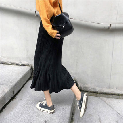 Maxi Casual Style Pleated Skirts Plain Long Maxi Skirts 8