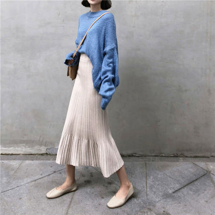 Maxi Casual Style Pleated Skirts Plain Long Maxi Skirts 9