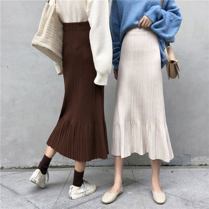 Maxi Casual Style Pleated Skirts Plain Long Maxi Skirts 10