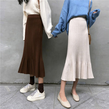 Maxi Casual Style Pleated Skirts Plain Long Maxi Skirts 11