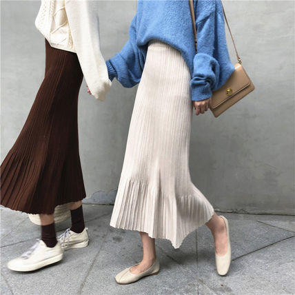 Maxi Casual Style Pleated Skirts Plain Long Maxi Skirts 12