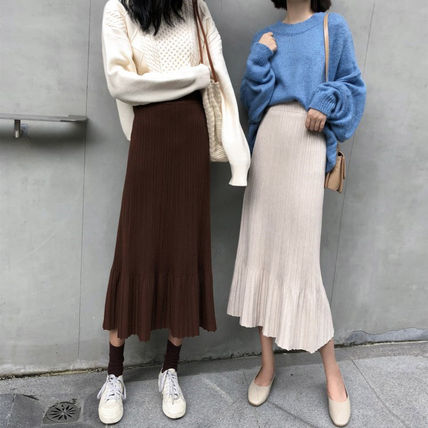 Maxi Casual Style Pleated Skirts Plain Long Maxi Skirts 13