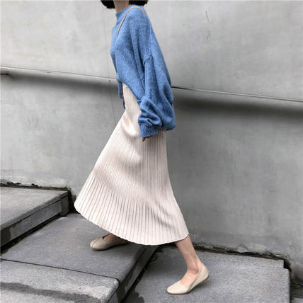 Maxi Casual Style Pleated Skirts Plain Long Maxi Skirts 14