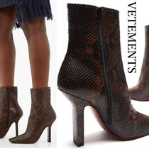 VETEMENTS Square Toe Casual Style Leather Pin Heels Python Oversized