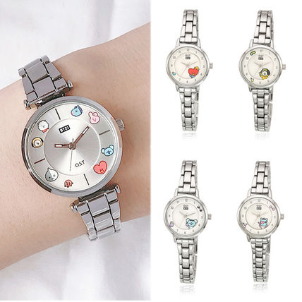 Casual Style Collaboration Metal Round Analog Watches