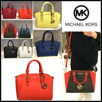 Michael Kors Monogram Casual Style Saffiano 2WAY Plain Office Style