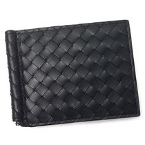 BOTTEGA VENETA Other Check Patterns Unisex Plain Leather Folding Wallets