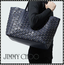 Jimmy Choo Unisex Studded A4 Leather Totes