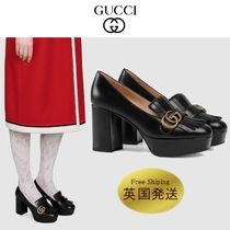 GUCCI GG Marmont Square Toe Plain Leather Block Heels Office Style