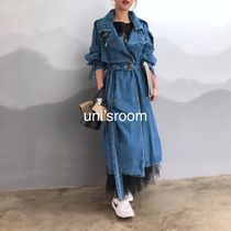 Casual Style Denim Street Style Plain Long Oversized