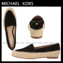 Michael Kors Round Toe Casual Style Suede Plain Logo Slip-On Shoes