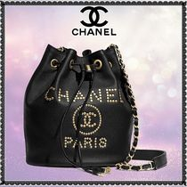 CHANEL Calfskin Studded 2WAY Chain Plain Purses Elegant Style