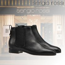Sergio Rossi Casual Style Plain Leather Block Heels Ankle & Booties Boots