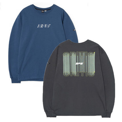 Crew Neck Pullovers Unisex Street Style Collaboration Plain