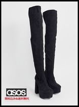 ASOS Casual Style Faux Fur Plain Block Heels Over-the-Knee Boots