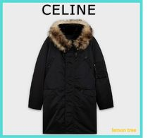 CELINE Street Style Plain Long Shearling Jackets