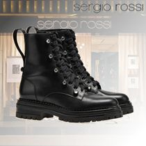 Sergio Rossi Casual Style Street Style Plain Leather Block Heels