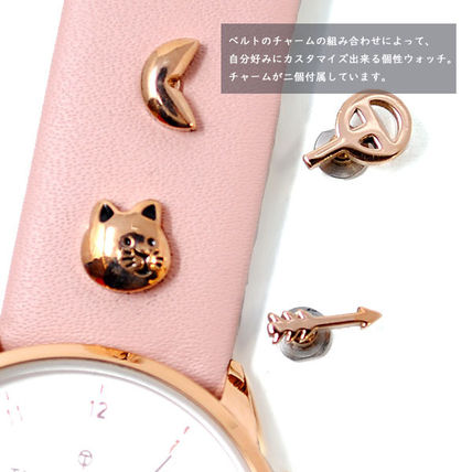 Street Style Leather Round Party Style Quartz Watches