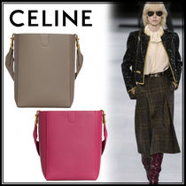 CELINE Sangle Calfskin 2WAY Plain Elegant Style Crossbody