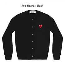 COMME des GARCONS Heart Wool Long Sleeves Logo Cardigans