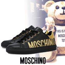 Moschino Round Toe Lace-up Casual Style Unisex Street Style Leather