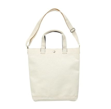 Casual Style Unisex Canvas 2WAY Plain Logo Totes