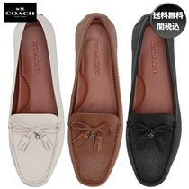 Coach Round Toe Casual Style Tassel Plain Leather
