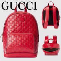 GUCCI Gucci Signature Leather Casual Style Leather Backpacks