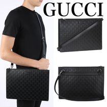 GUCCI Gucci Signature Leather A4 2WAY Leather Logo Business & Briefcases