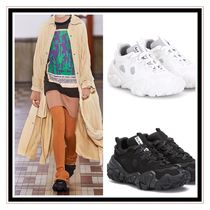 Acne Round Toe Rubber Sole Lace-up Low-Top Sneakers