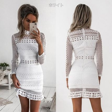 Short Tight Long Sleeves Party Style High-Neck Lace Dresses