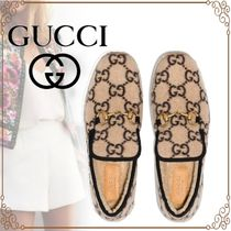 GUCCI Monogram Round Toe Loafer Pumps & Mules