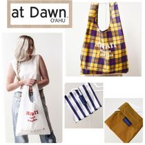 at Dawn. O'AHU Gingham Unisex Nylon Collaboration A4 Plain Shoppers