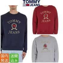 Tommy Hilfiger Crew Neck Pullovers Street Style Long Sleeves Plain Cotton