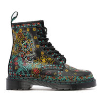 Dr Martens 1460 Flower Patterns Paisley Plain Toe Rubber Sole Casual Style