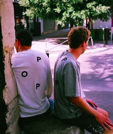 Pop Trading Company More T-Shirts Unisex Street Style Cotton Short Sleeves Logo Skater Style 4