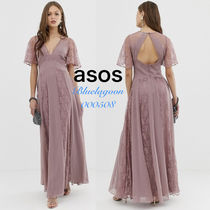 ASOS Flared V-Neck Plain Long Short Sleeves Lace Elegant Style