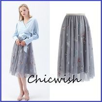 Chicwish Flared Skirts Flower Patterns Medium With Jewels