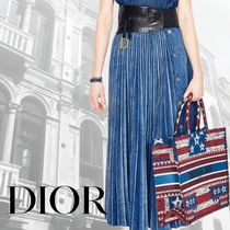 Christian Dior Flared Skirts Casual Style Denim Street Style Plain Long