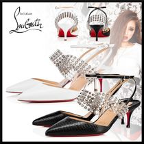 Christian Louboutin Blended Fabrics Studded Plain Other Animal Patterns Leather